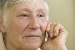 Closeup Of Thoughtful Elderly Woman Royalty Free Stock Image