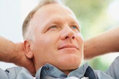 Closeup of a thoughtful relaxed man Stock Photo