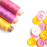 Closeup of thread and buttons Stock Photos
