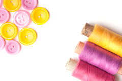 Closeup of thread and buttons Royalty Free Stock Image