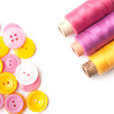 Closeup of thread and buttons Stock Photo