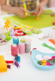 Closeup on threads and buttons on table Royalty Free Stock Image