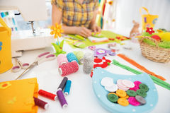 Closeup on threads and buttons on table Stock Photos