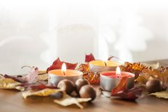 Three burning candles, colorful autumn leaves and acorns of northern red oak and amber necklace on wooden board Stock Images