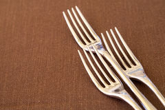 Forks. Closeup of three dining forks on table Stock Photos