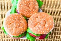 Closeup three fresh burgers Royalty Free Stock Photo
