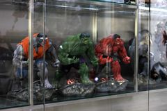 Closeup Three Hulk Figures Model on display at The M Cafe royalty free stock photos