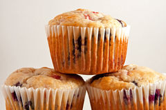 Closeup of Three Muffins Stock Photos