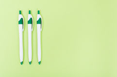 Closeup of three pencils with text area Royalty Free Stock Photo