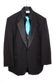 Closeup of three piece suit with blue tie Royalty Free Stock Images