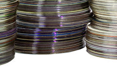 Closeup Three Piles of Colorful Compact Discs Stock Photo