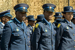 Closeup of Three South African Police Officers Stock Photos
