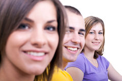 Closeup of three students royalty free stock photo