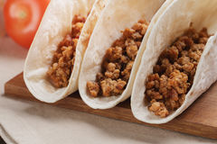 Closeup of three tacos with minced meat Stock Image