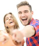 Closeup of three young people showing hands forward. The concept of perspectives Stock Images