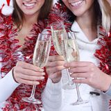 Closeup.three young women with glasses of champagne . royalty free stock photo