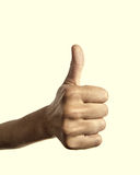 Closeup thumb up Stock Photo