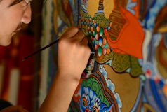 Closeup of Tibetan Painter Stock Photos