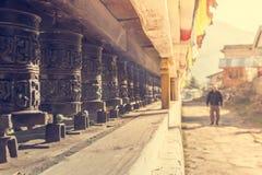 Closeup of Tibetan praying wheels. Royalty Free Stock Photography