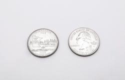Closeup till Minnesota det statliga symbolet på mynt för fjärdedeldollar på vit bakgrund arkivbilder