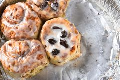 Raisin Cinnamon Buns closeup. Closeup of a tin of homemade cinnamon buns. Four buns some with raising others without. Half the tray is empty Stock Photo