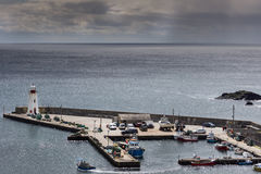 Closeup of the tiny harbor of Lybster, Scotland. Royalty Free Stock Image