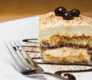 Tiramisu cake and chocolate swirl on white plate Stock Images