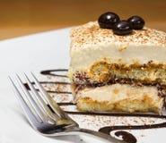 Tiramisu cake and chocolate swirl on white plate. Closeup of tiramisu cake and chocolate swirl on white plate Stock Images