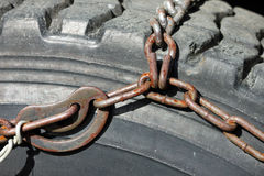 Closeup of Tire Chain Stock Images