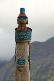 Closeup of Tlingit totem on the Chilkoot River, near Haines, Alaska Stock Images