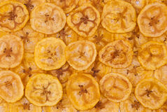 Closeup to Banana Chips Background/ Texture Stock Images