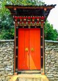 Closeup to Beautiful Bhutan Traditional Style of Big Door/ Entrance.  stock photo
