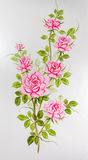 Closeup to Beautiful Pink Roses Painting on Wardrobe Surface Background.  stock image