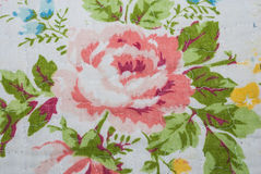 Closeup to Big Pink Blossom Rose Flower Vintage Fabric Royalty Free Stock Images