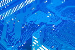 Closeup to Blue Computer Printed Circuit Board [Soft Focus] Stock Photo
