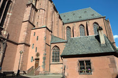 Closeup to building of Frankfurt Cathedral Stock Images