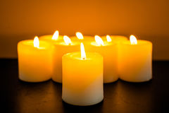 Closeup to burning candles Royalty Free Stock Images