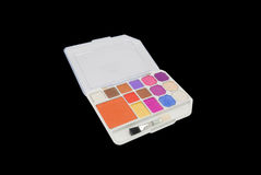 Closeup to Colorful Eye Shadow and Brush on Palette, Isolated Royalty Free Stock Photos