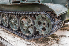 Closeup to Crawler of Old Military Tank Royalty Free Stock Images