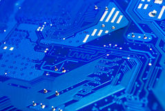 Closeup to Differential Pair on Blue Computer Printed Circuit Board [Soft Focus] Royalty Free Stock Photography