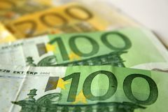 Closeup to euro banknotes royalty free stock photography