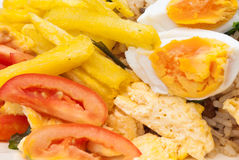Closeup to Fried Rice with Fried Potatoes and Salted Eggs Background Stock Photos