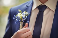 Groom in a blue suit with the buttonhole stock image