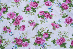 Closeup to Group of Pink Rose Flower Vintage Fabric.  Stock Image