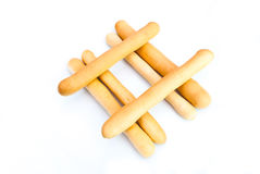 Closeup to Hashtag Sign of Bread Sticks Grissini Background Royalty Free Stock Photography