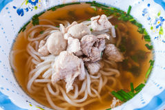 Closeup to Laos Style Noodle with Pork and Meatball Royalty Free Stock Images