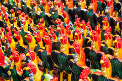 Closeup to Many Beautiful Chickens Statue Background royalty free stock photos