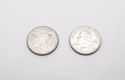 Closeup to Ohio State Symbol on Quarter Dollar Coin on White Background royalty free stock photo