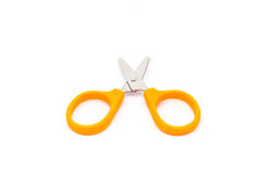 Closeup to Pair of Orange Scissors on White Background/ Isolated royalty free stock images