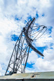 Closeup to Parabolic Military Mobile Communication Antenna Tower Stock Images